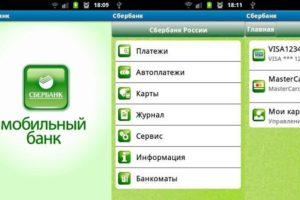 Интерфейс приложения Мобильный банк