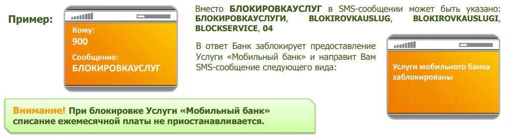 Блокировка Мобильного банка при помощи СМС-сообщений