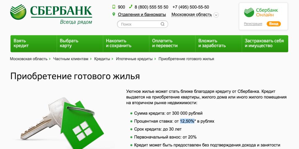Расчет ипотеки в Сбербанке